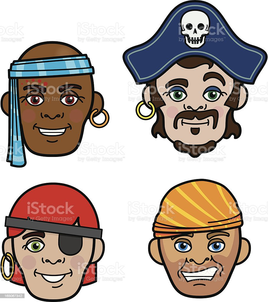 Pirate faces vector art illustration