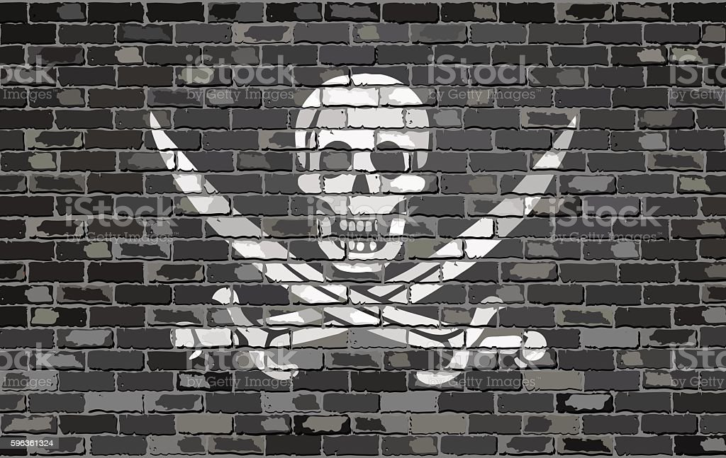 Pirate flag on a brick wall vector art illustration