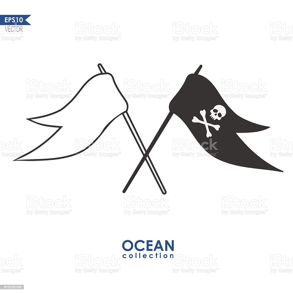 pirate flags isoalted on white vector art illustration