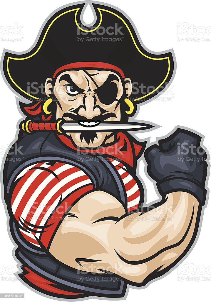 Pirate Flex Mascot vector art illustration