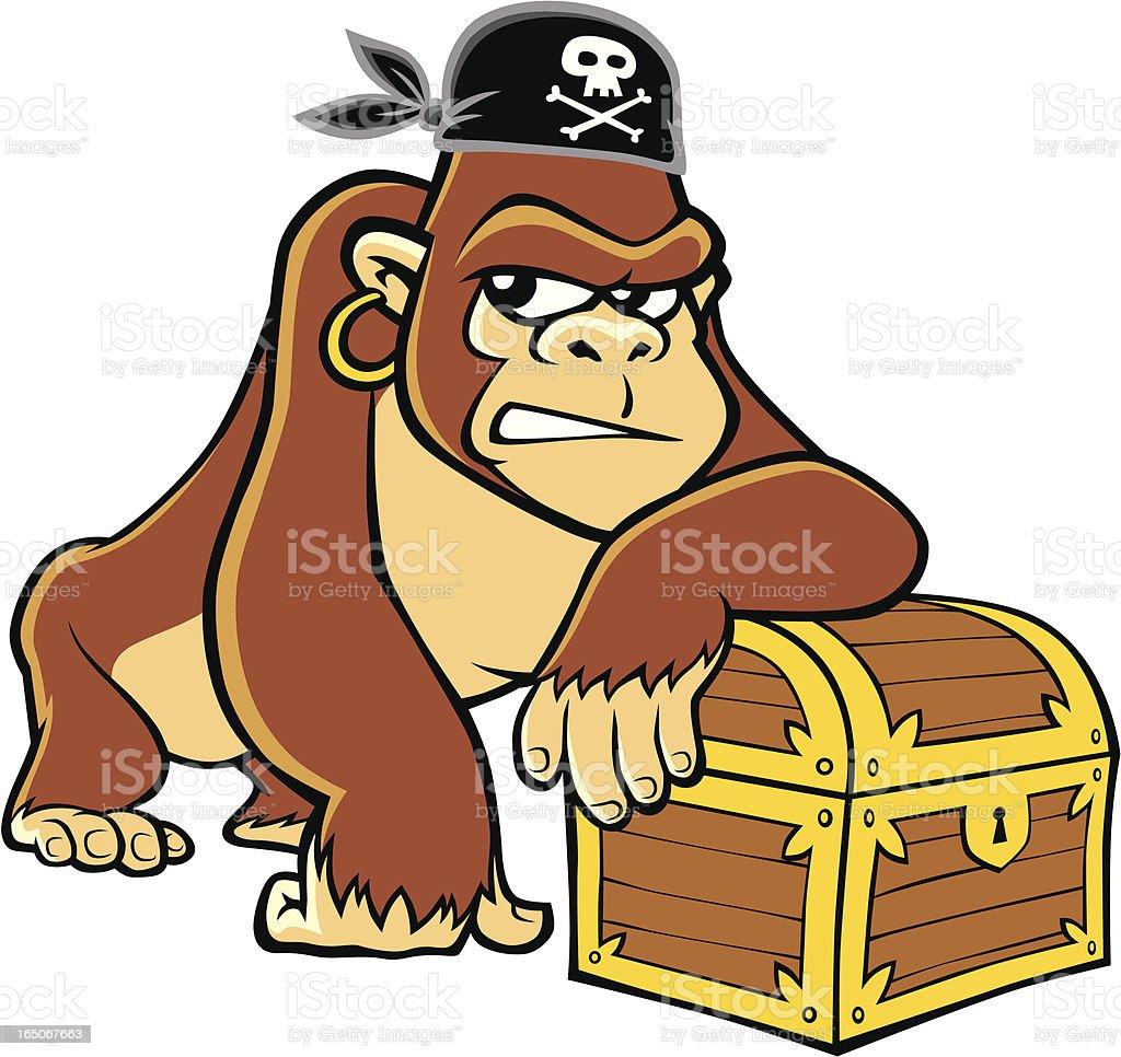 Pirate Gorilla vector art illustration