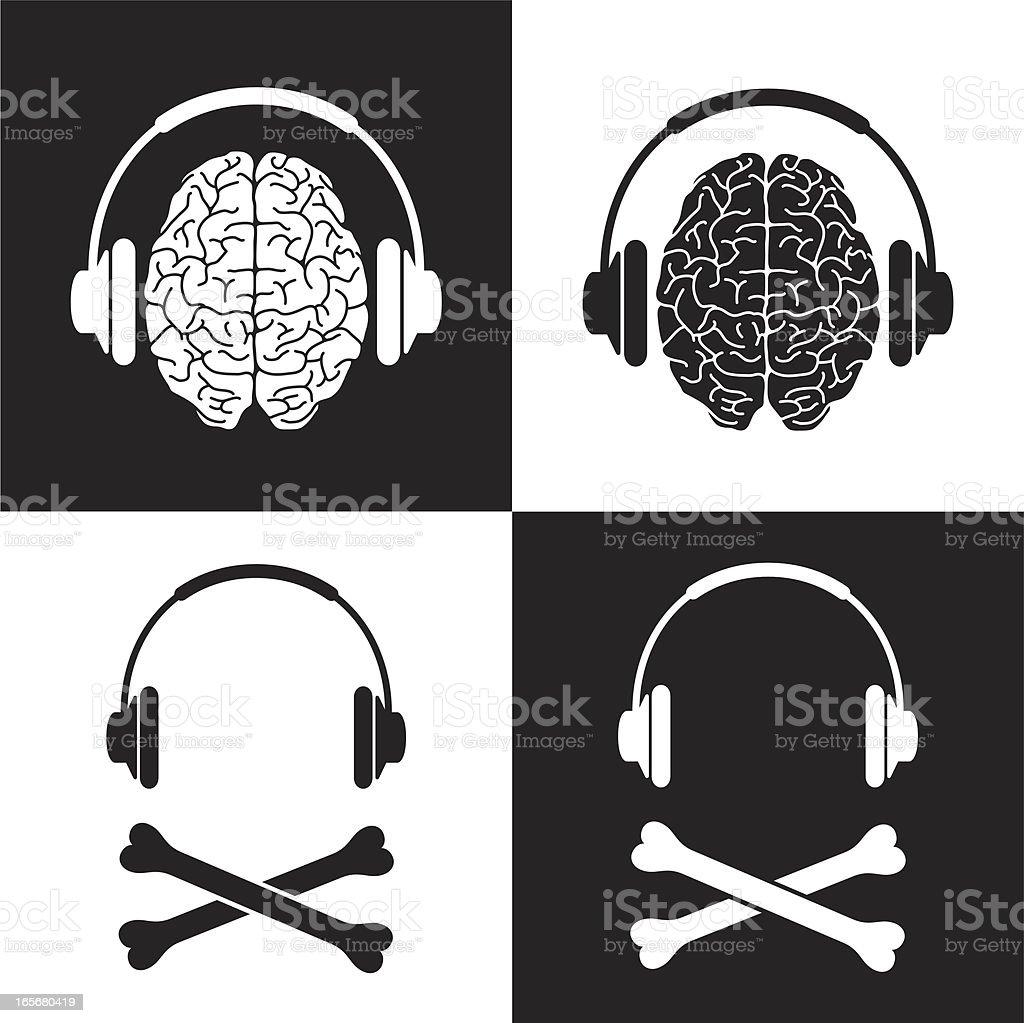 Pirate headphone brain vector art illustration