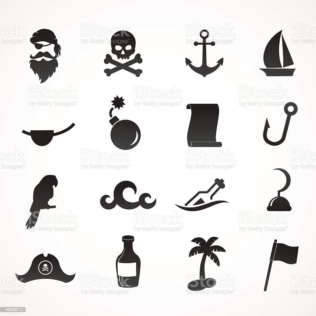 Pirate icon set. vector art illustration