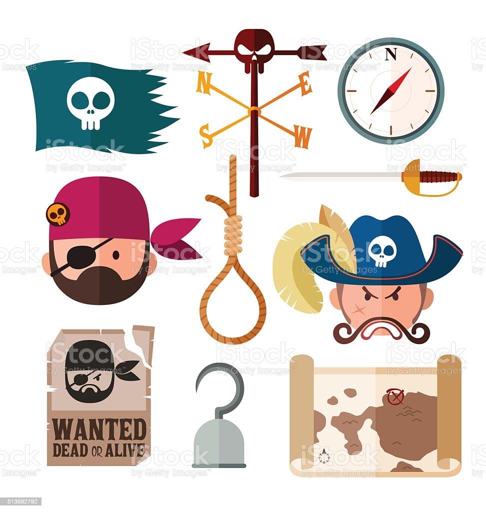 pirate icon vector art illustration