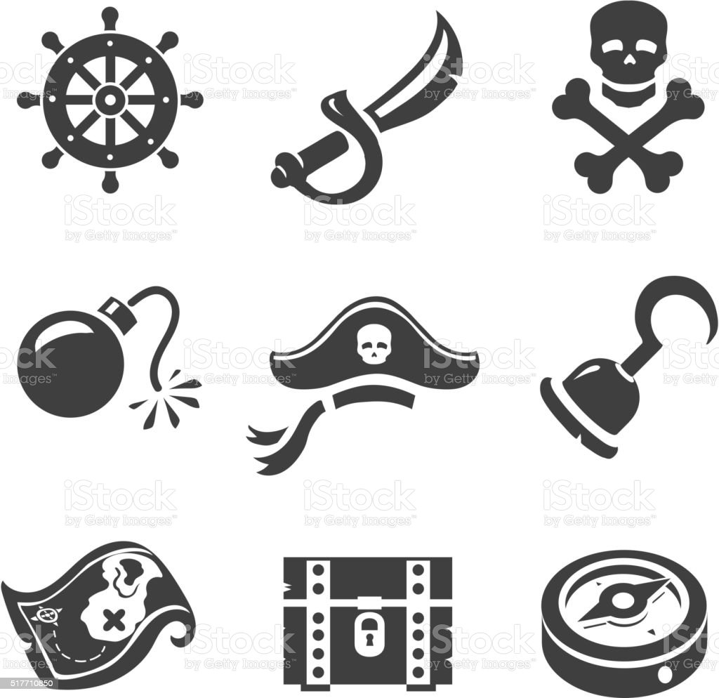 Pirate Icons  Skull and chest, pirates treasure map, hat vector art illustration