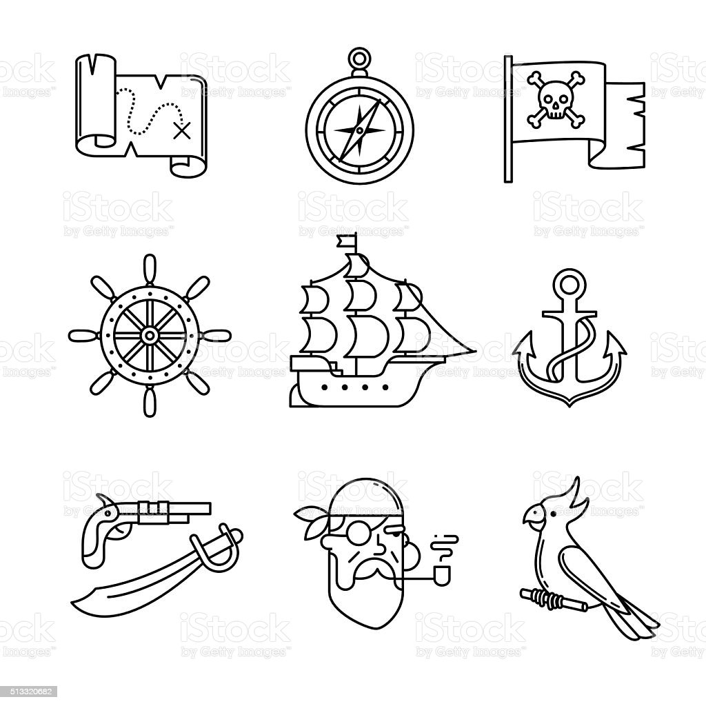 Pirate icons thin line art set vector art illustration