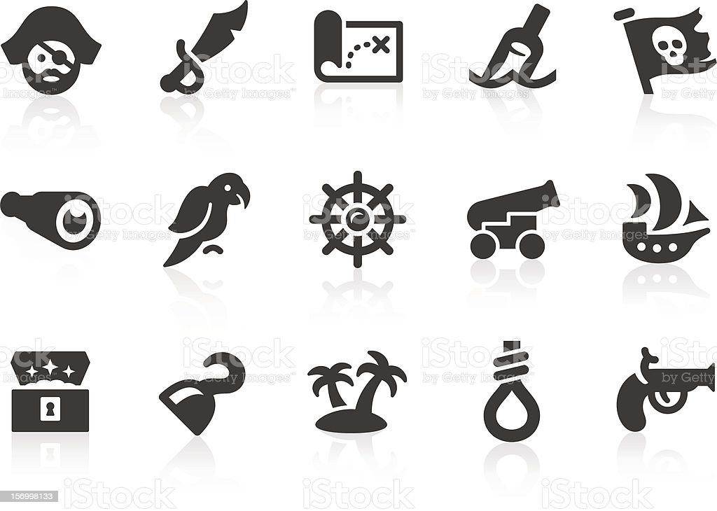 Pirate icons vector art illustration