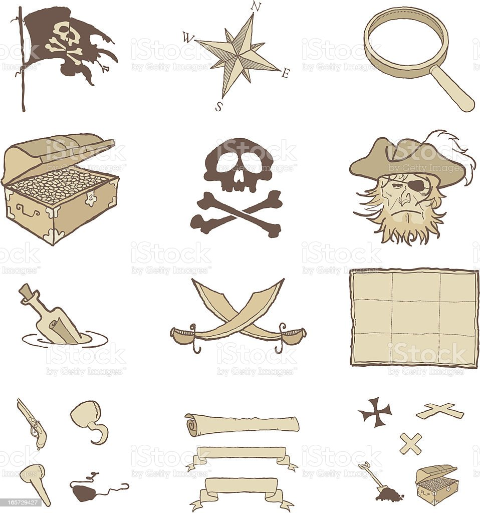 Pirate Icons royalty-free stock vector art