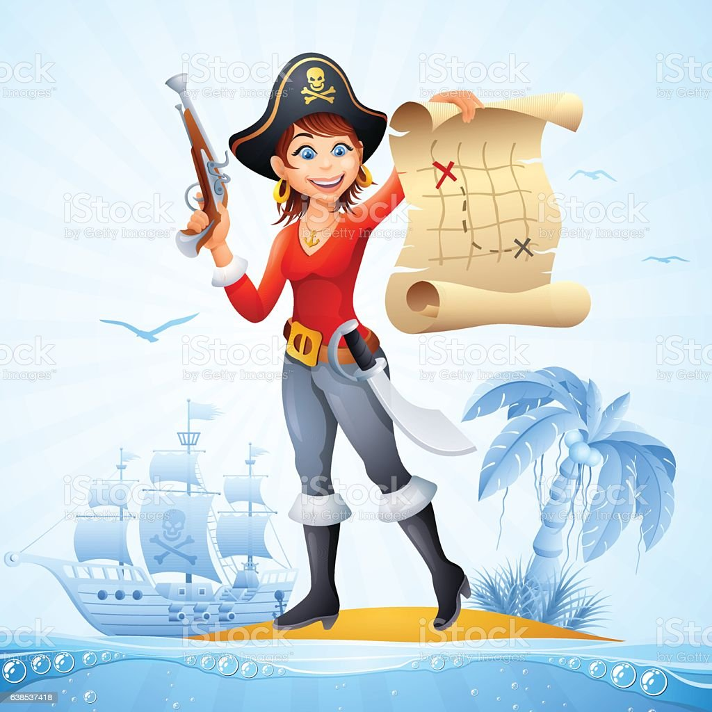Pirate Island vector art illustration
