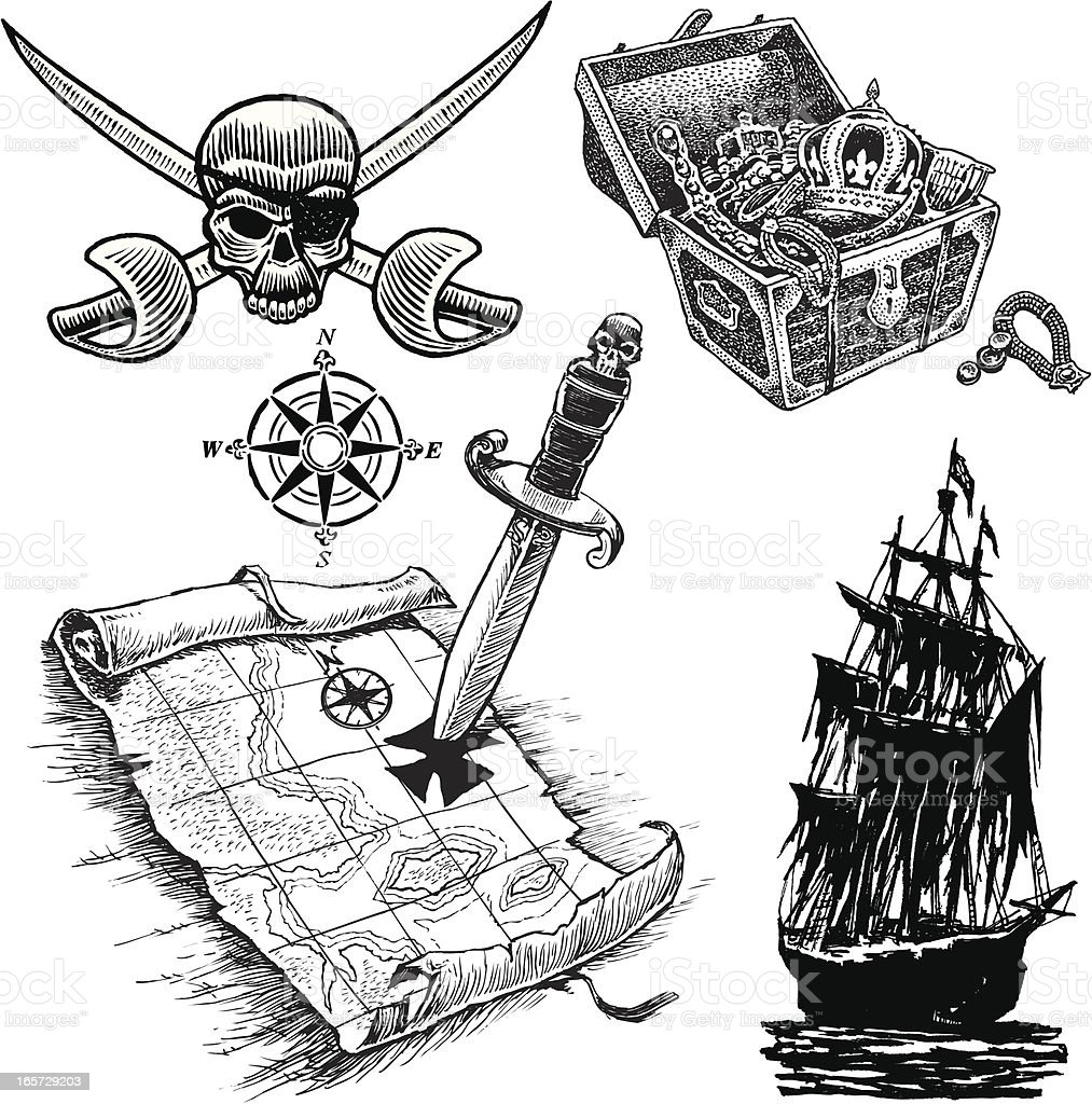 Pirate Items with Tresure Map, Ship and Skull royalty-free stock vector art