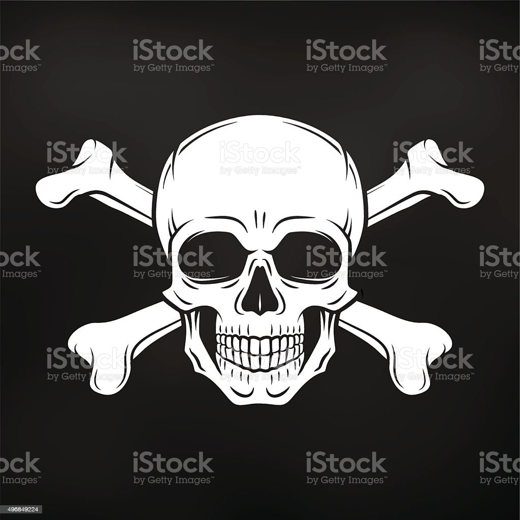 Pirate Jolly Roger with crossbones template. death t-shirt concept vector art illustration