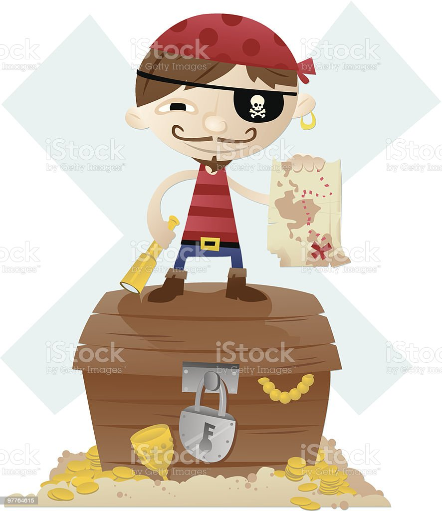 pirate kid vector art illustration