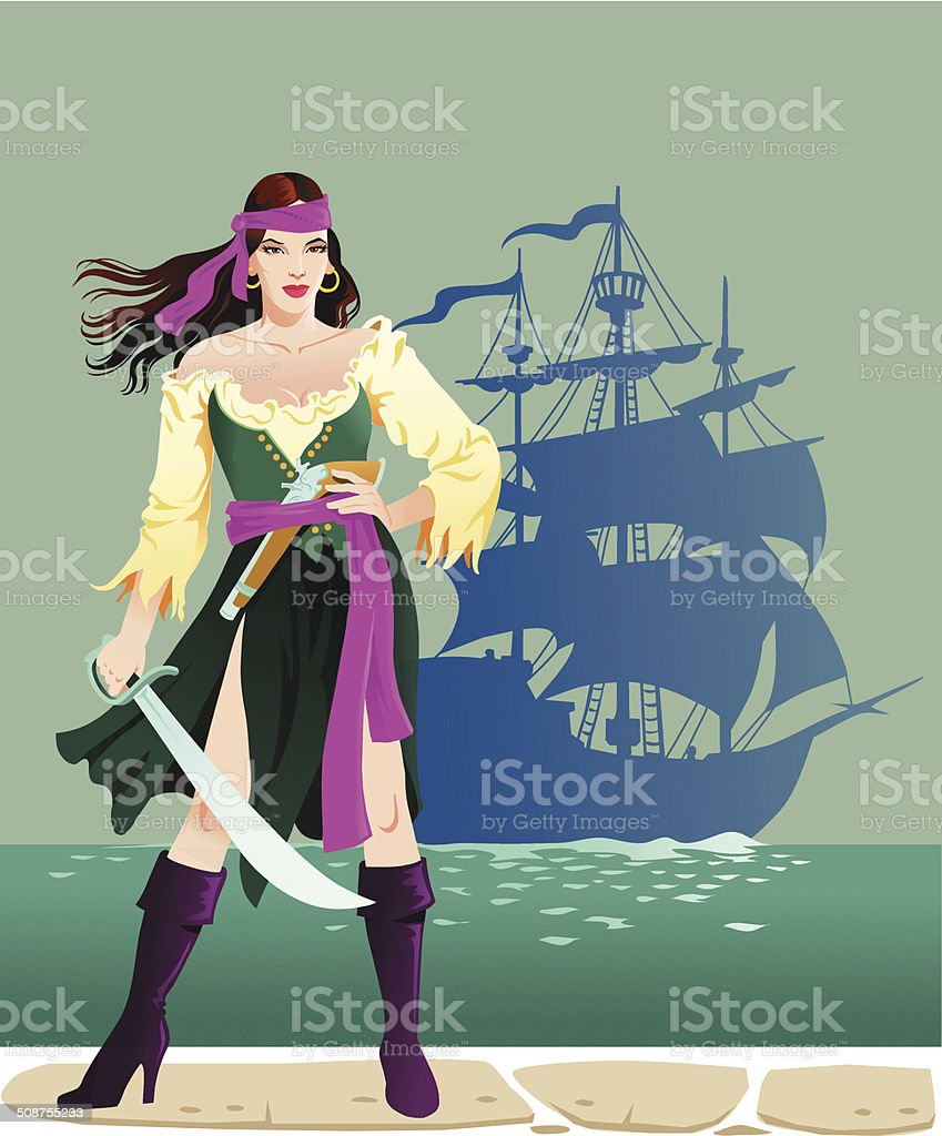 Pirate Lady With Cutlass vector art illustration