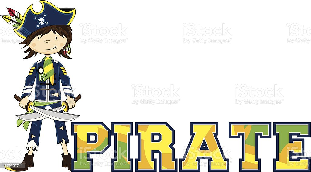 Pirate Learn to Read Illustration royalty-free stock vector art