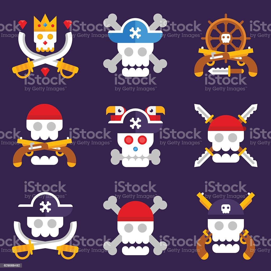 Pirate logos with different skulls and bones vector art illustration