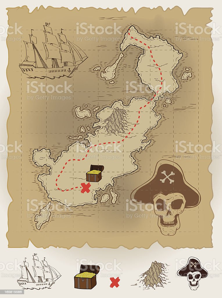 Pirate Map vector art illustration