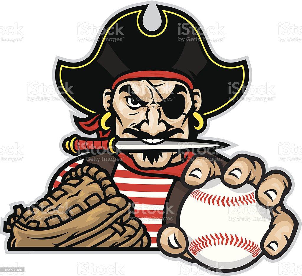 Pirate Mascot Baseball royalty-free stock vector art