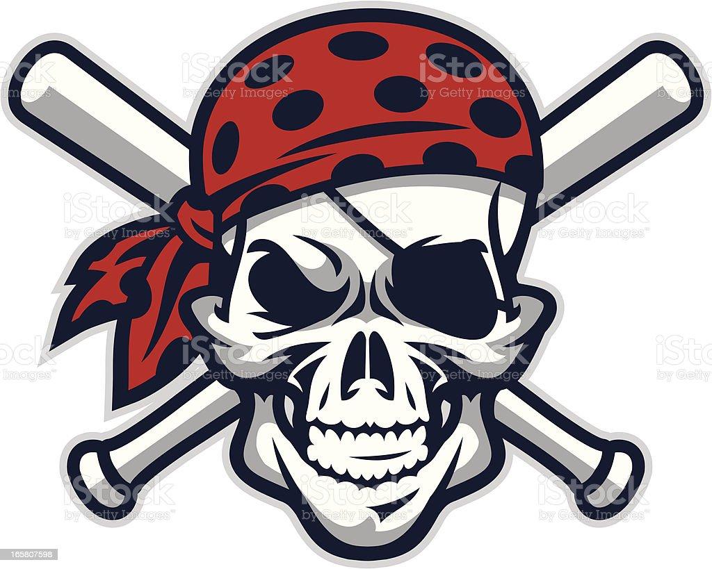 Pirate Mascot Baseball vector art illustration