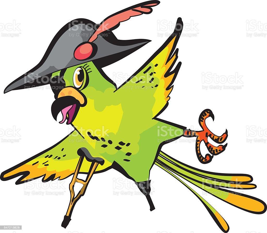 pirate parrot cartoon vector illustration vector art illustration