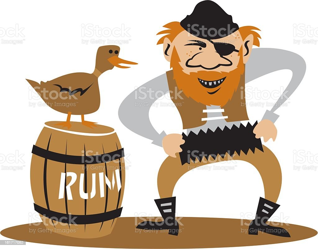 Pirate Playing an Accordion vector art illustration