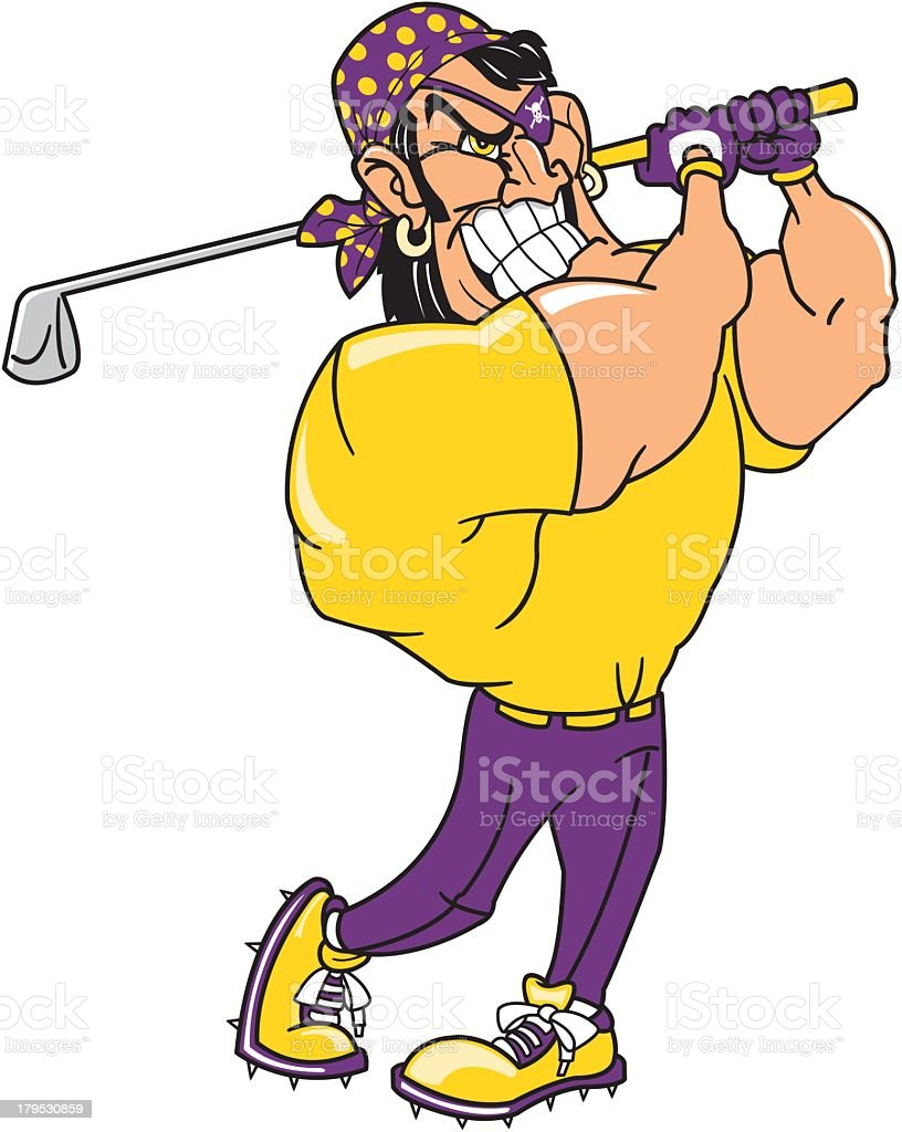 Pirate Playing Golf royalty-free stock vector art