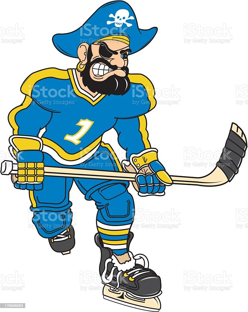 Pirate Playing Ice Hockey royalty-free stock vector art