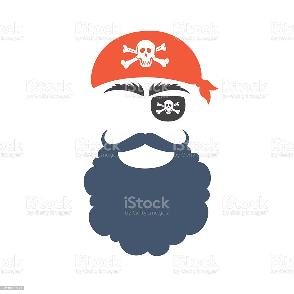 Pirate props face vector art illustration