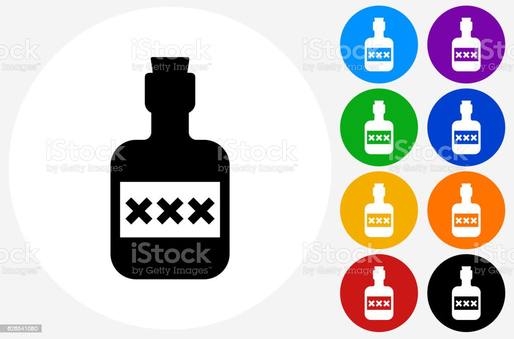 Pirate Rum Icon on Flat Color Circle Buttons vector art illustration
