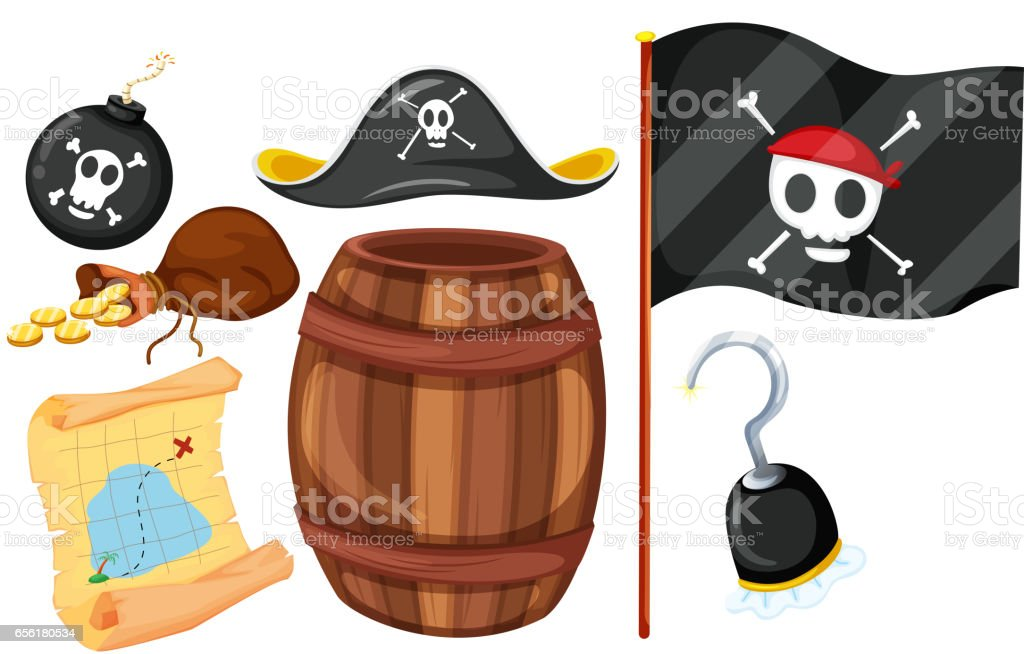 Pirate set with flag and weapons vector art illustration