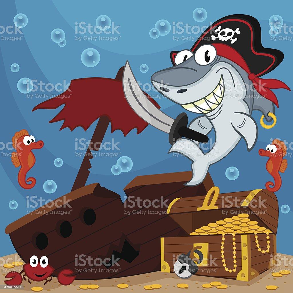 pirate shark vector art illustration