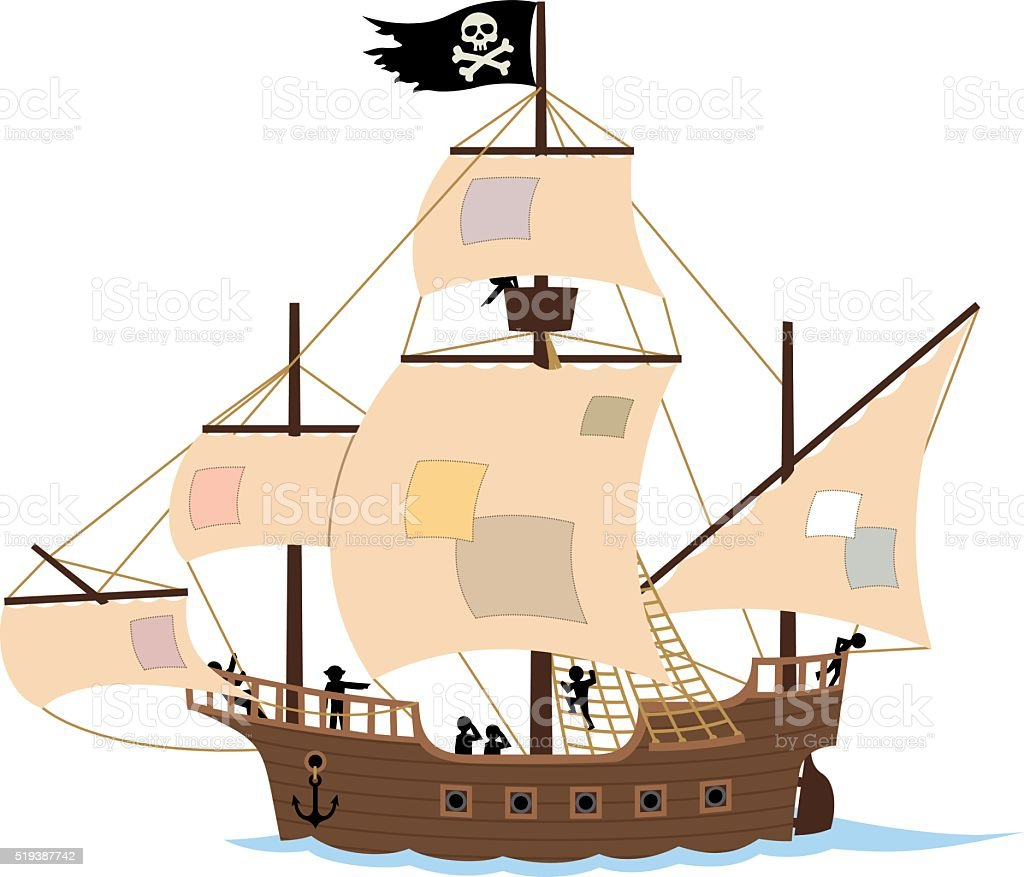 Pirate Ship on White vector art illustration