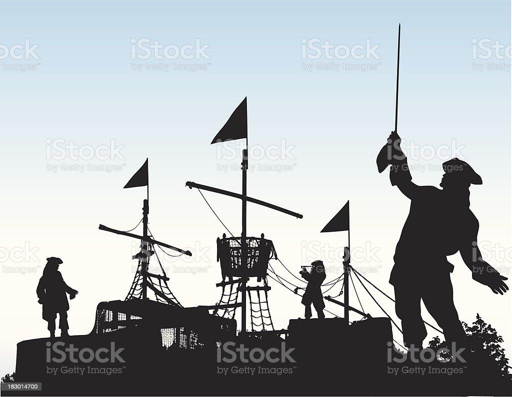 Pirate Ship vector art illustration