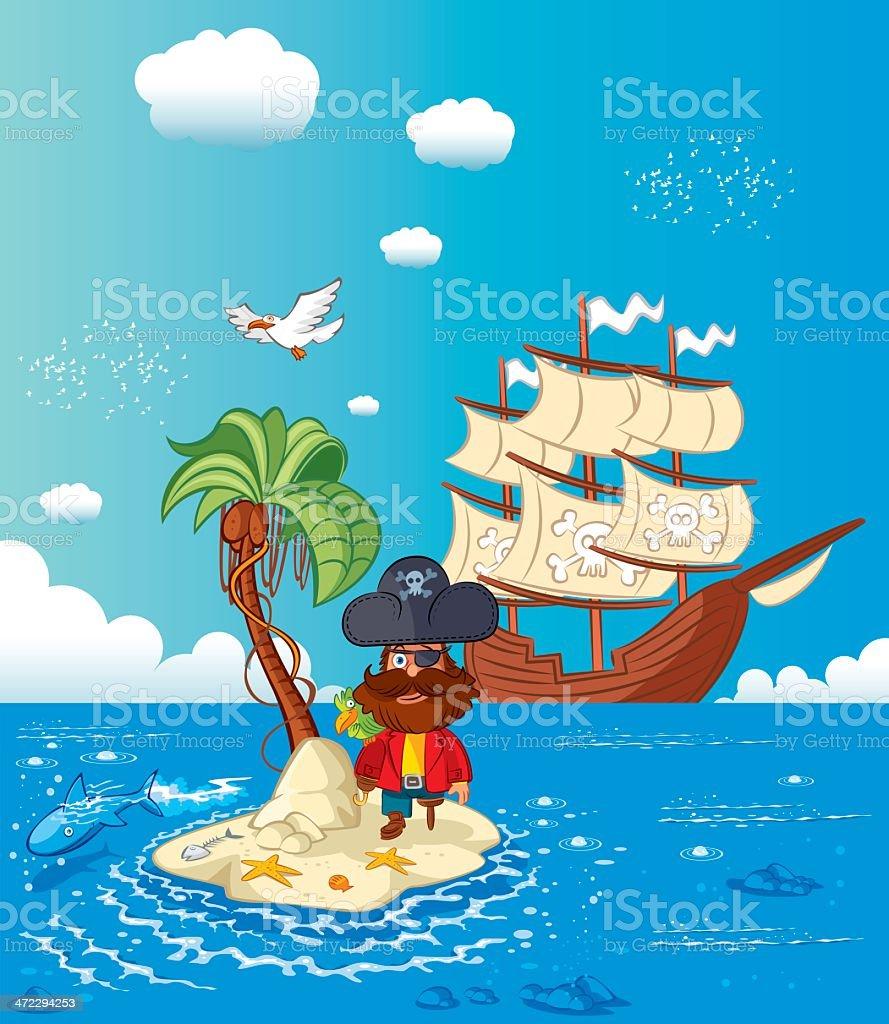 Pirate Ship royalty-free stock vector art