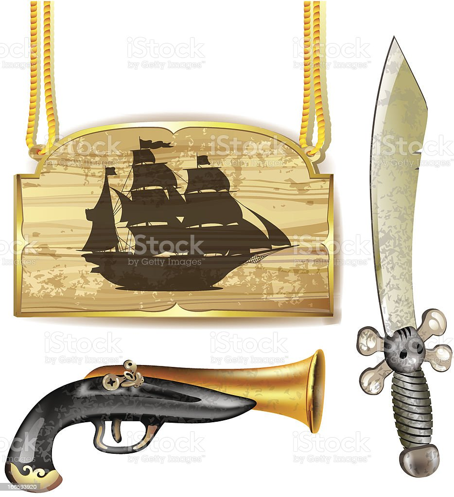 Pirate ship with sword and gun royalty-free stock vector art