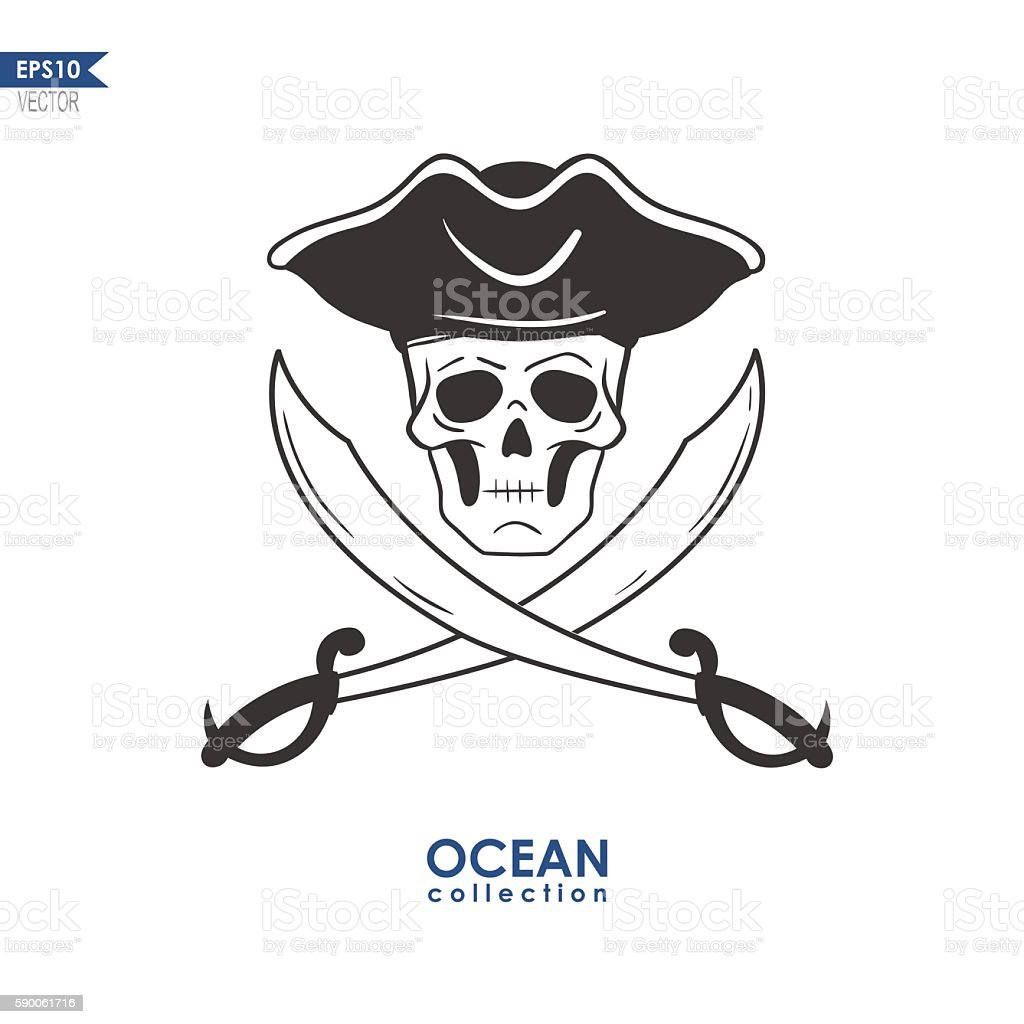 pirate sign with swords vector art illustration