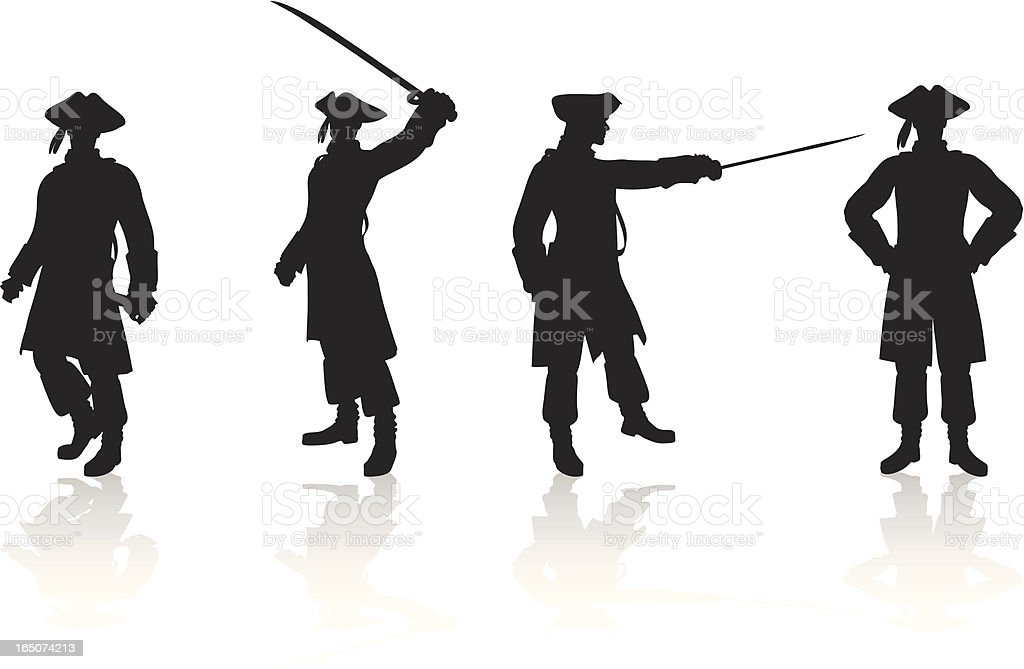 Pirate Silhouette Collection vector art illustration