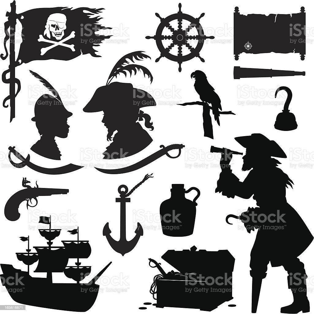 Pirate Silhouettes vector art illustration