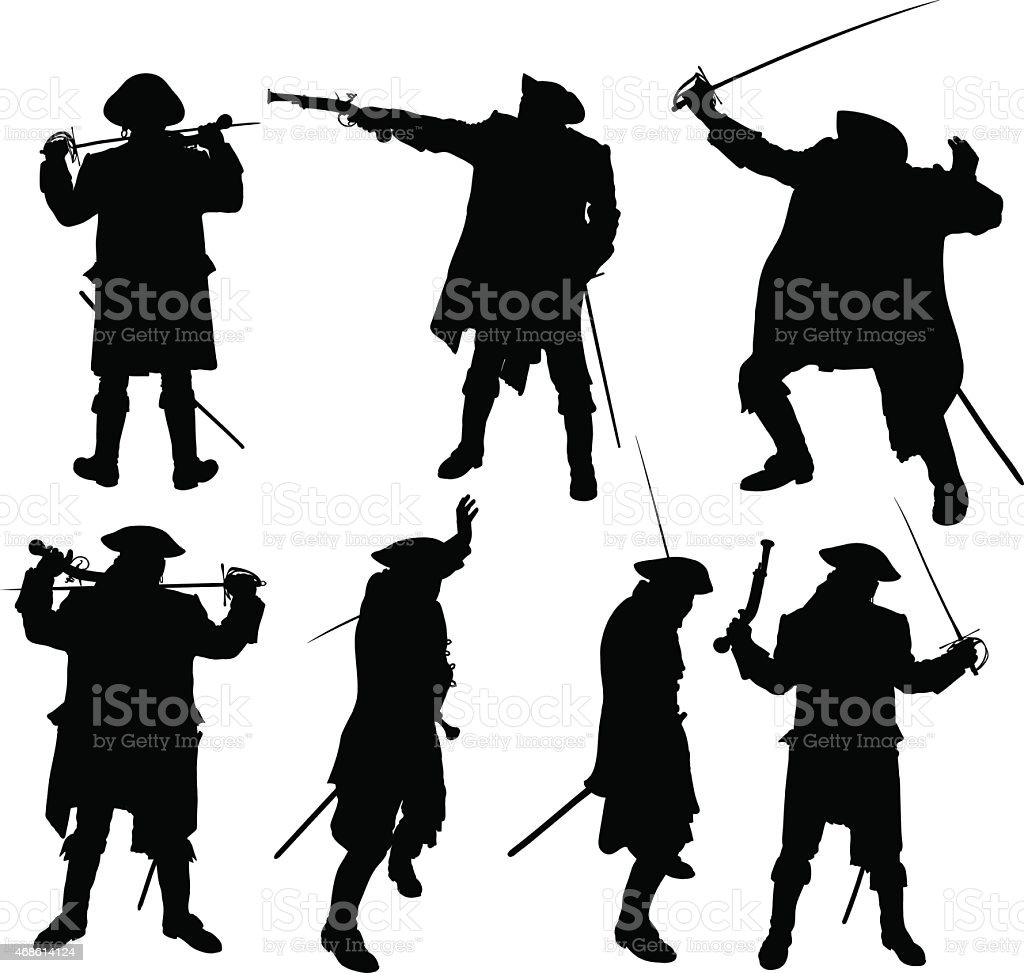 pirate silhouettes vector art illustration