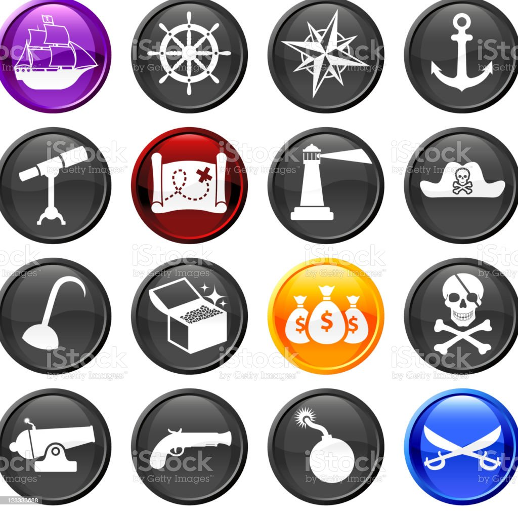 Pirate sixteen royalty free vector icon set royalty-free stock vector art
