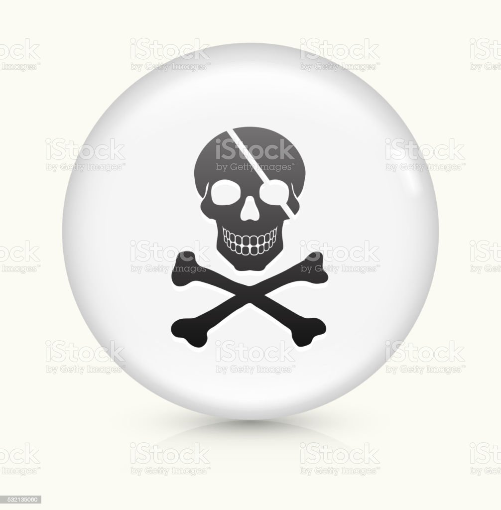 Pirate Skull and Bones icon on white round vector button vector art illustration