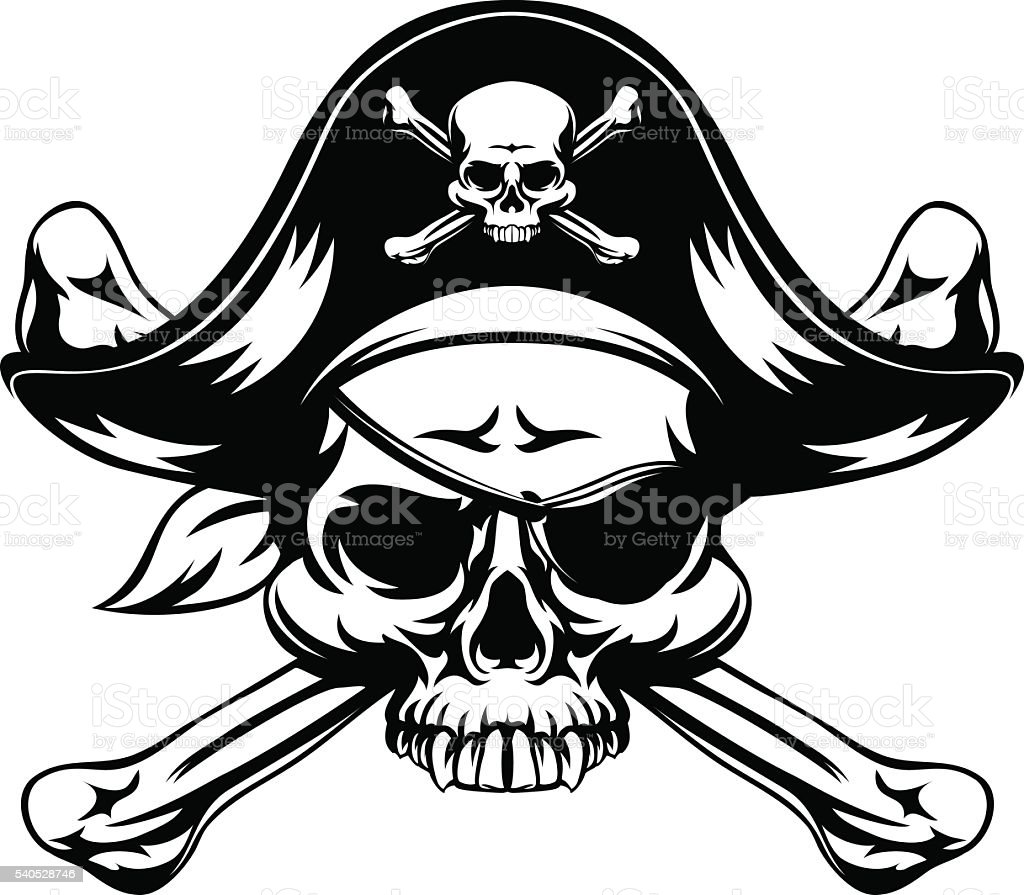Pirate Skull and Crossed Bones vector art illustration