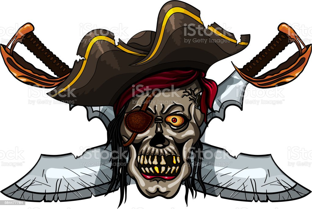 Pirate skull and crossed swords vector art illustration