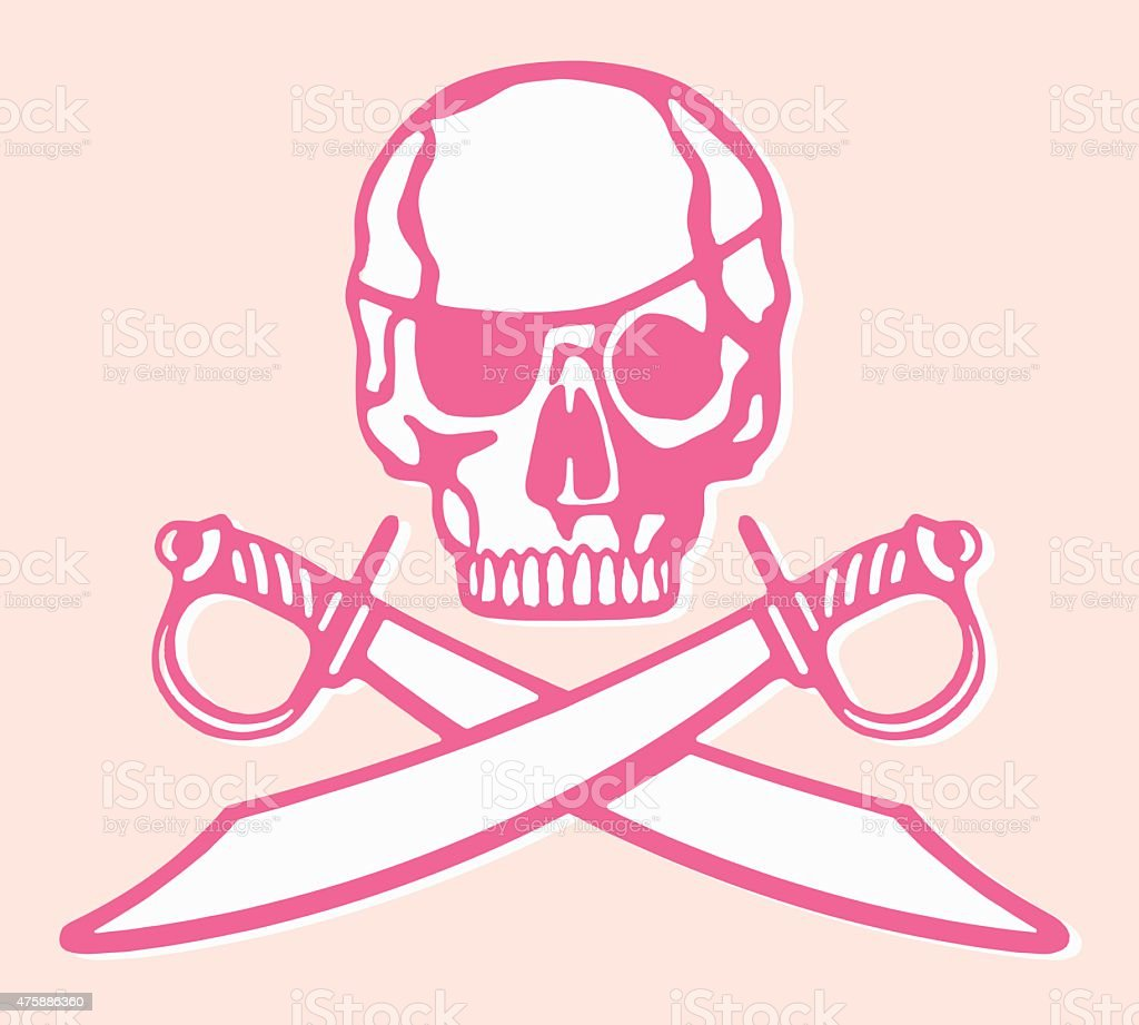 Pirate Skull and Swords vector art illustration
