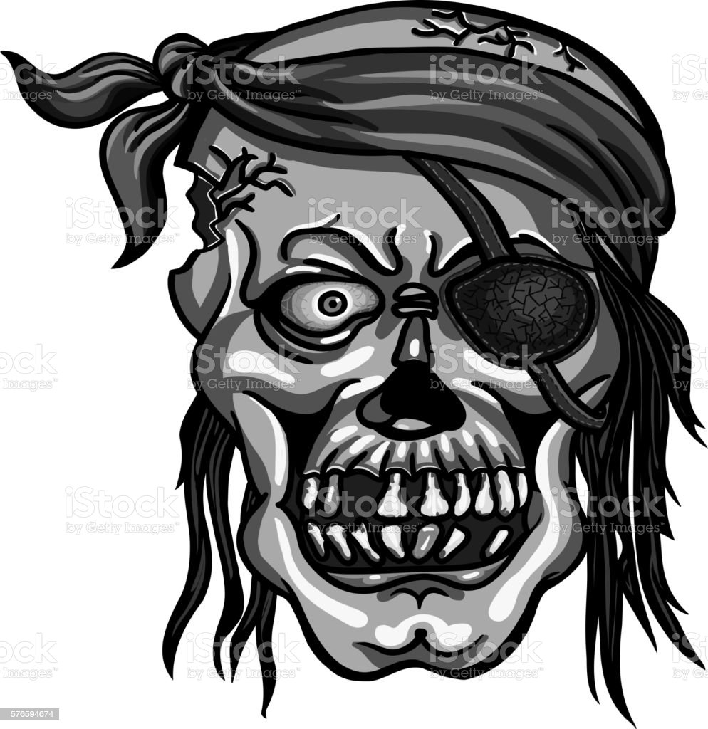 pirate skull in bandanna without one eye vector art illustration