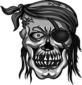 pirate skull in bandanna without one eye