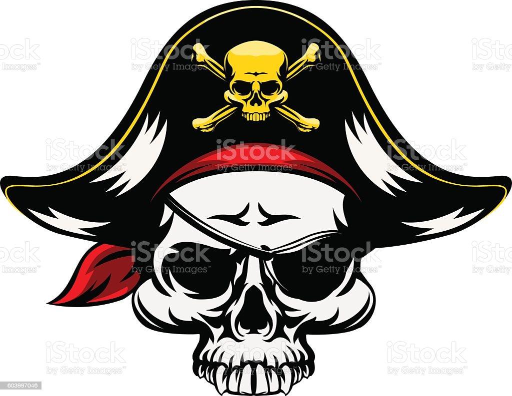 Pirate Skull vector art illustration