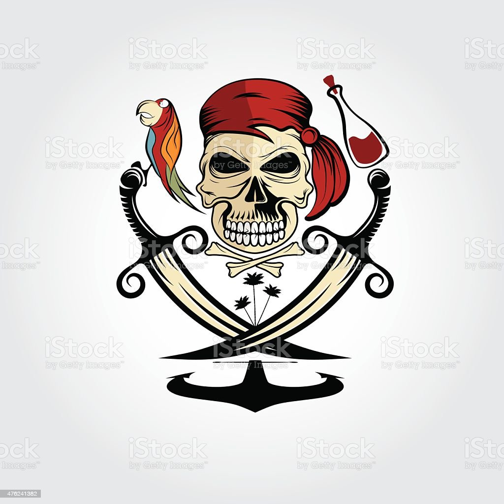 pirate skull with parrot,rum,anchor and palms vector art illustration