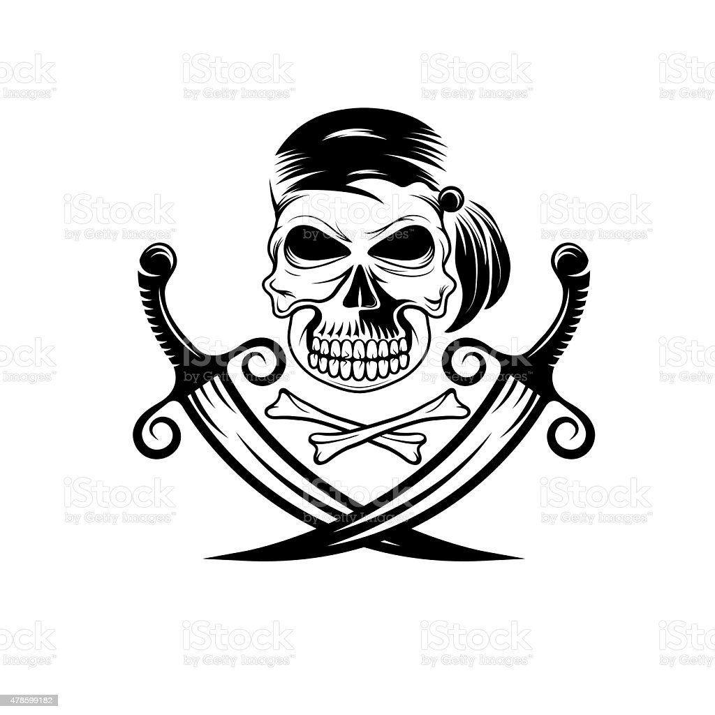 pirate skull with swords and bones vector art illustration