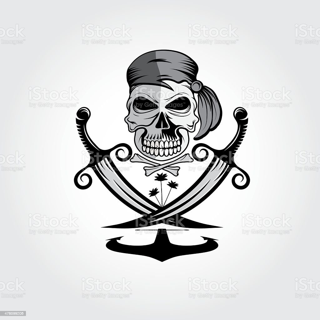 pirate skull with swords,anchor and palms vector art illustration
