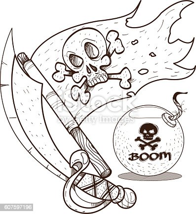 pirate sword jolly roger and the graphics pirate theme stock